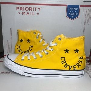 NWB Converse All Star Yellow Smile High Top Shoes